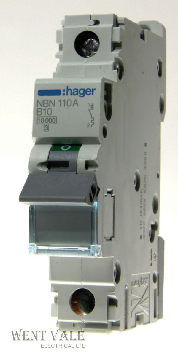 Hager NBN110 - 10a Type B Single Pole MCB Used